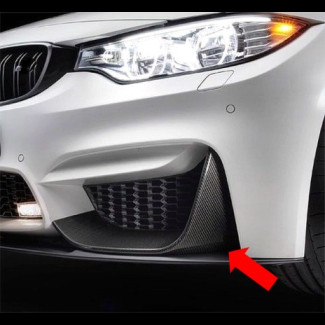 2014-2017 BMW 4-Series (F82) M4 Real Carbon Fiber 2pc Front Bumper Spliter Caps