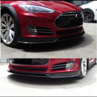 2012-2015 Tesla Model S RVZ Style Rear Front 2pc Lip Spoiler (Carbon Fiber)
